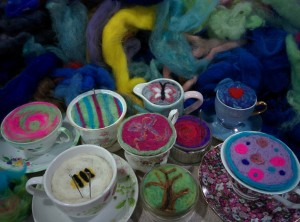 Pin cushions in tea cups